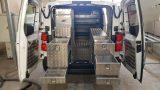 זיווד אלומיניום לרכב מסחרי : רצפה, מדפים, מגירות, מיכל מים נירוסטה ומתקן לנייר